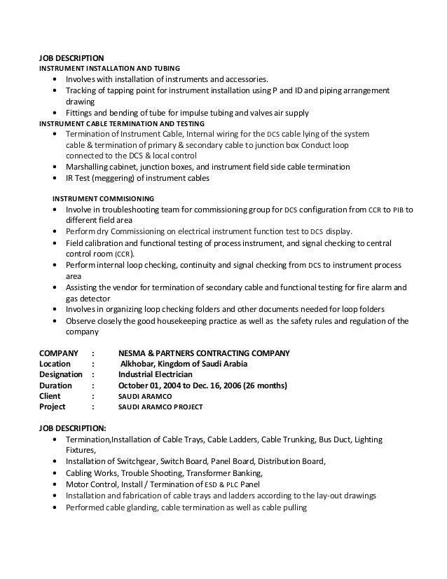 electrician job description electrician job duties - Controls Technician Job Description