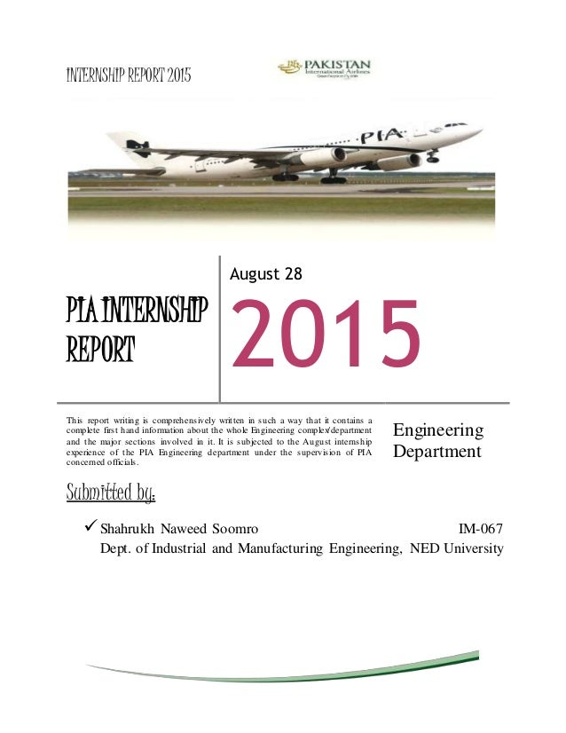 cover page internship report 2015 submitted by shahrukh naweed soomro im 067 dept of