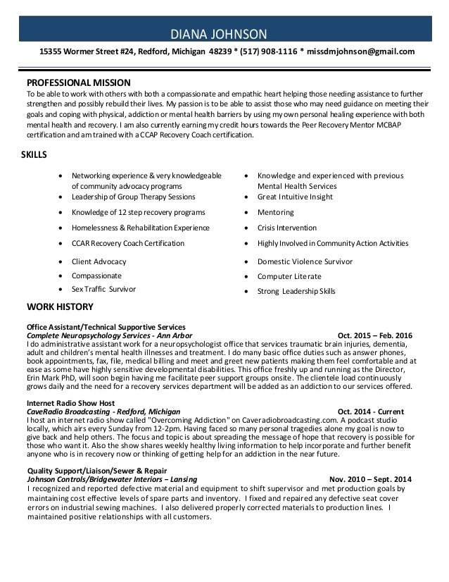 Recovery Coach Resume Examples Acurnamedia