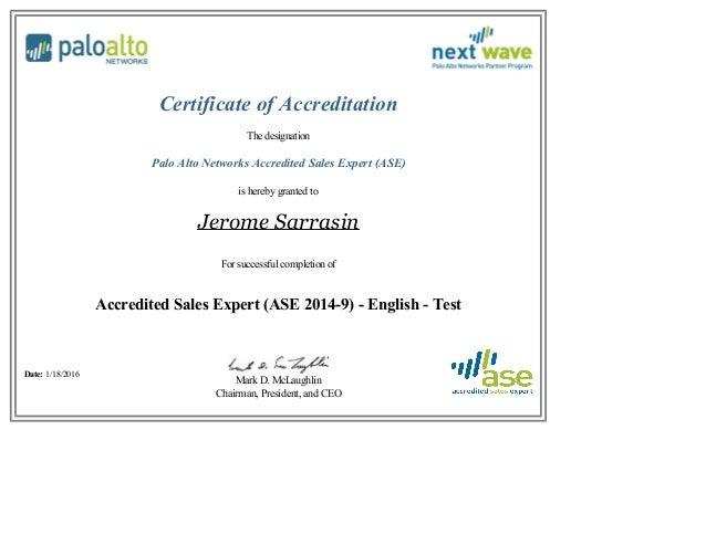 Palo Alto Ase Certificate