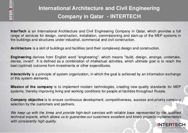 Intertech is one of the top building construction for Architecture companies qatar