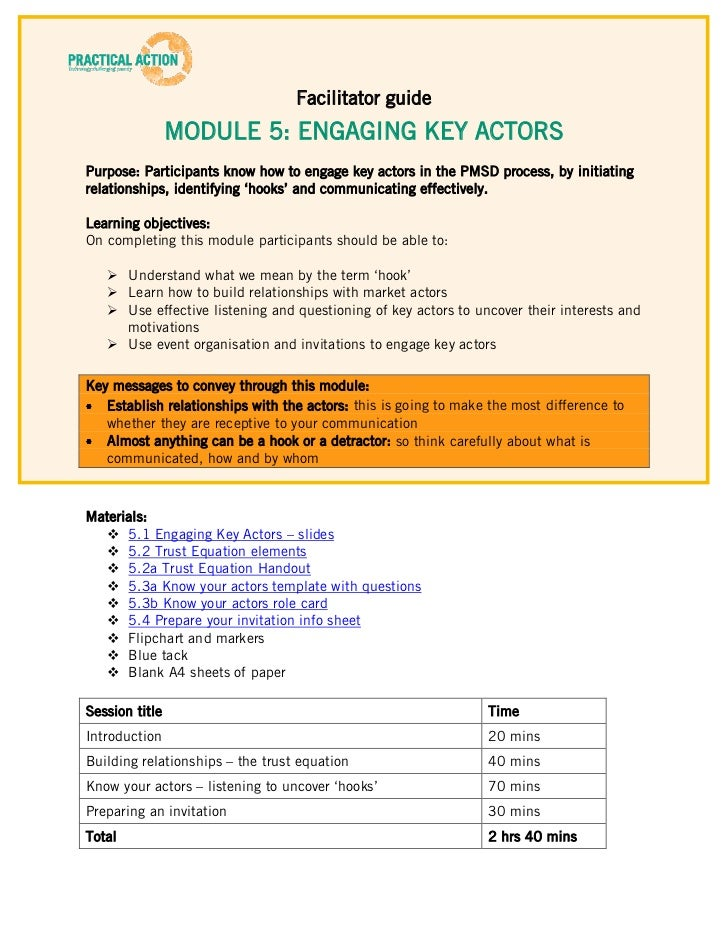 facilitation plan template - step 5 training materials facilitator guide