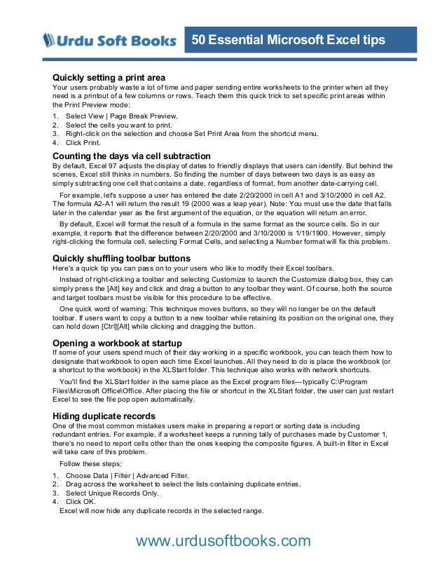 50 essential excel tips. Black Bedroom Furniture Sets. Home Design Ideas