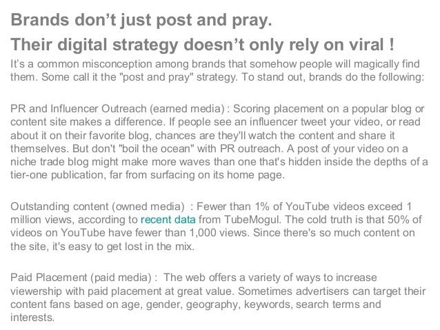 Brands don't just post and pray. Their digital strategy doesn't only rely on viral ! It's a common misconception among bra...