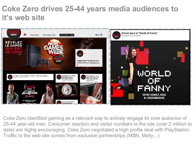 Coke Zero drives 25-44 years media audiences to it's web site .Coke Zero identified gaming as a relevant way to actively e...