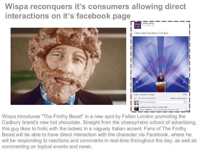 """Wispa reconquers it's consumers allowing direct interactions on it's facebook page Wispa introduces """"The Frothy Beast"""" in ..."""