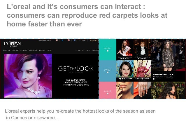 L'oreal and it's consumers can interact : consumers can reproduce red carpets looks at home faster than ever L'oreal exper...