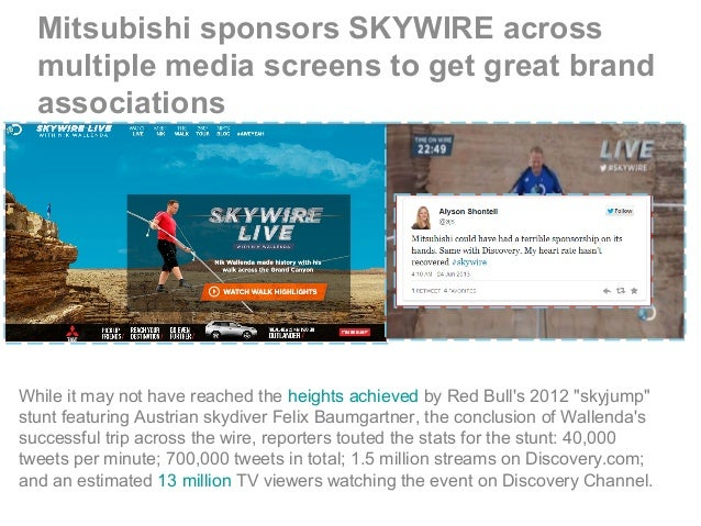 Mitsubishi sponsors SKYWIRE across multiple media screens to get great brand associations While it may not have reached th...