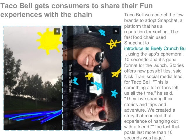 Taco Bell gets consumers to share their Fun experiences with the chain Taco Bell was one of the few brands to adopt Snapch...