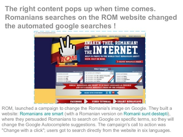 The right content pops up when time comes. Romanians searches on the ROM website changed the automated google searches ! R...