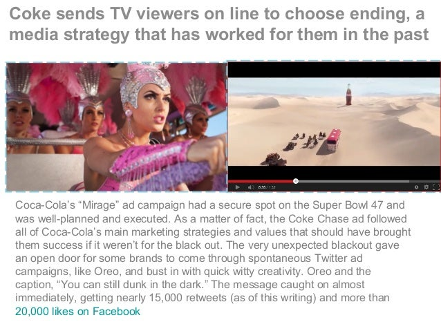 """Coke sends TV viewers on line to choose ending, a media strategy that has worked for them in the past Coca-Cola's """"Mirage""""..."""