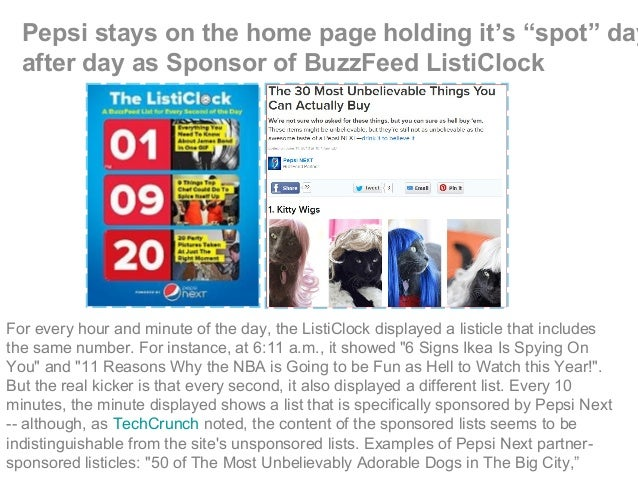 """Pepsi stays on the home page holding it's """"spot"""" day after day as Sponsor of BuzzFeed ListiClock For every hour and minute..."""