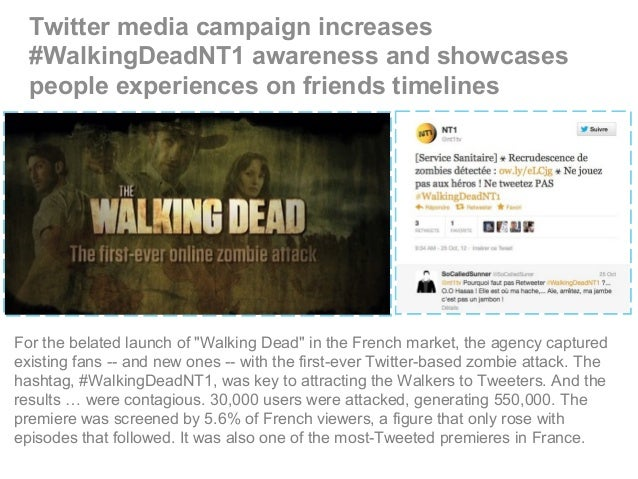 Twitter media campaign increases #WalkingDeadNT1 awareness and showcases people experiences on friends timelines For the b...