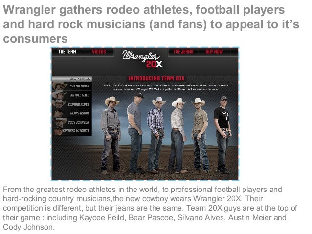 Wrangler gathers rodeo athletes, football players and hard rock musicians (and fans) to appeal to it's consumers From the ...