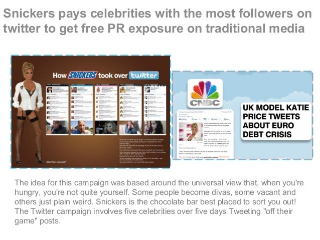 Snickers pays celebrities with the most followers on twitter to get free PR exposure on traditional media The idea for thi...