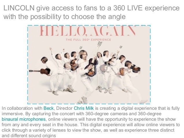 LINCOLN give access to fans to a 360 LIVE experience with the possibility to choose the angle In collaboration with Beck, ...