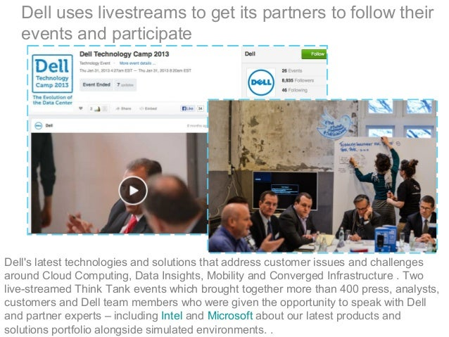 Dell uses livestreams to get its partners to follow their events and participate Dell's latest technologies and solutions ...