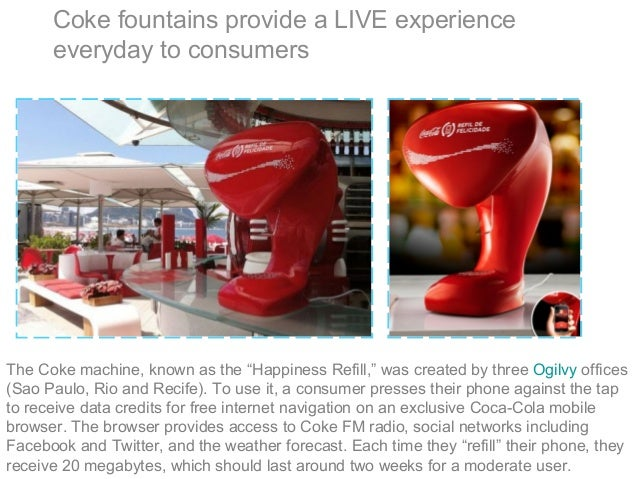 """Coke fountains provide a LIVE experience everyday to consumers The Coke machine, known as the """"Happiness Refill,"""" was crea..."""