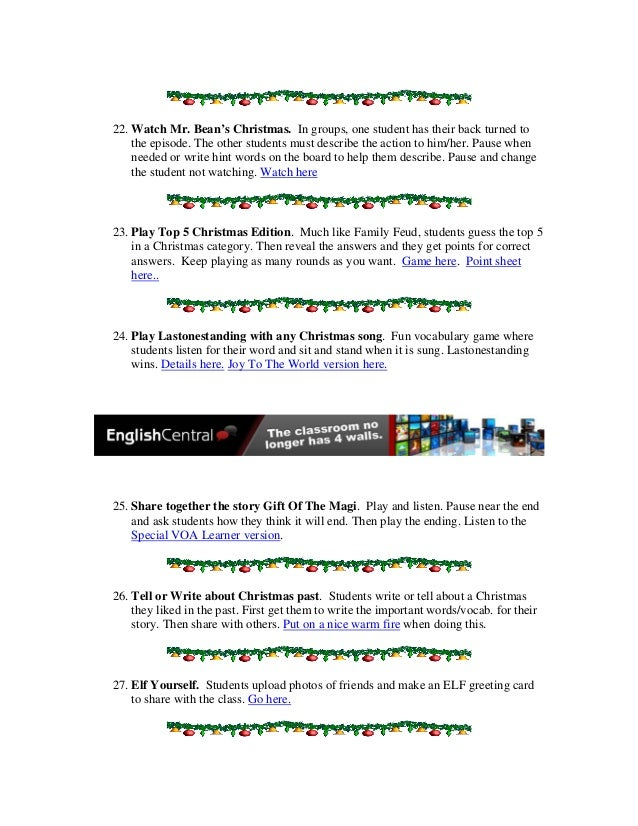 50 holiday activities for the english language classroom