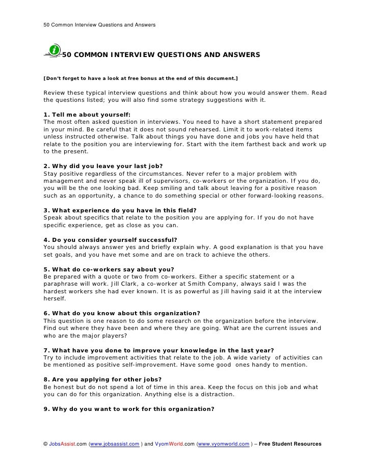 50 Common Interview Questions and Answers           50 COMMON INTERVIEW QUESTIONS AND ANSWERS   [Don't forget to have a lo...