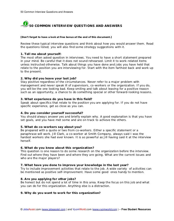50 Common Interview Questions And Answers 50 COMMON INTERVIEW QUESTIONS AND  ANSWERS[Donu0027t ...