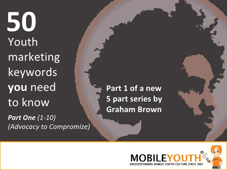 50<br />Youth marketing<br />keywords<br />you need<br />to know<br />Part 1 of a new5 part series by Graham Brown<br />Pa...
