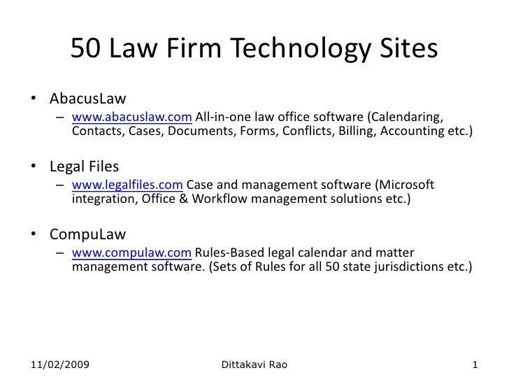 AbacusLaw<br />www.abacuslaw.com All-in-one law office software (Calendaring, Contacts, Cases, Documents, Forms, Conflicts...