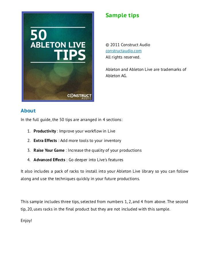 Sample tips                                                © 2011 Construct Audio                                         ...