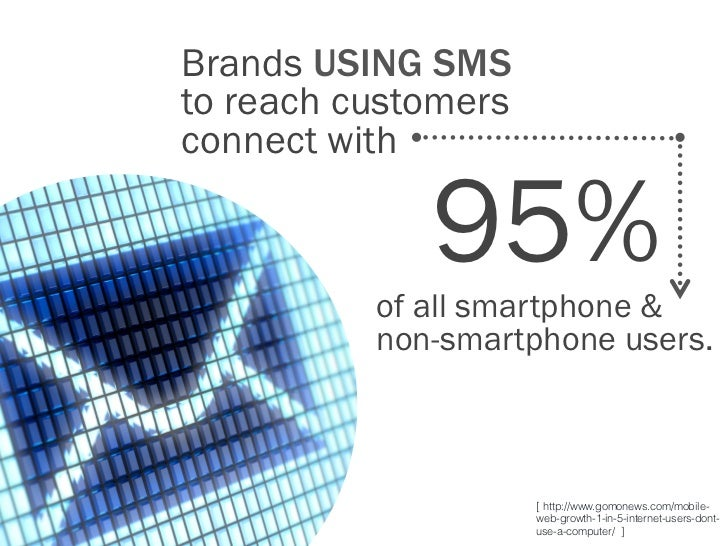 Brands USING SMSto reach customersconnect with             95%          of all smartphone &          non-smartphone users....
