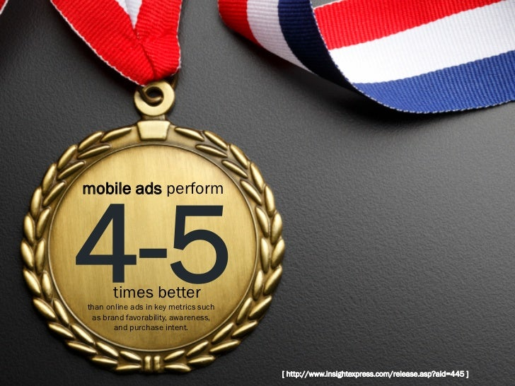mobile ads perform4-5    times betterthan online ads in key metrics such as brand favorability, awareness,       and purch...