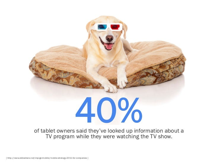 40%                          of tablet owners said they've looked up information about a                               TV ...