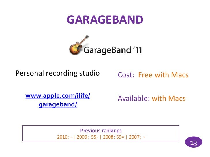 GARAGEBANDPersonal recording studio               Cost: Free with Macs  www.apple.com/ilife/                  Available: w...