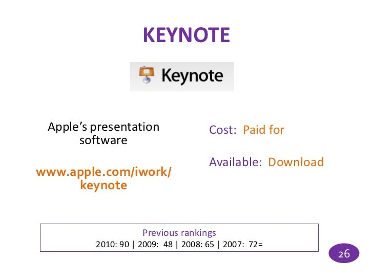 KEYNOTE Apple's presentation                Cost: Paid for      software                                     Available: Do...