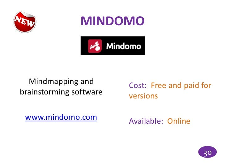 MINDOMO  Mindmapping and        Cost: Free and paid forbrainstorming software   versions www.mindomo.com         Available...