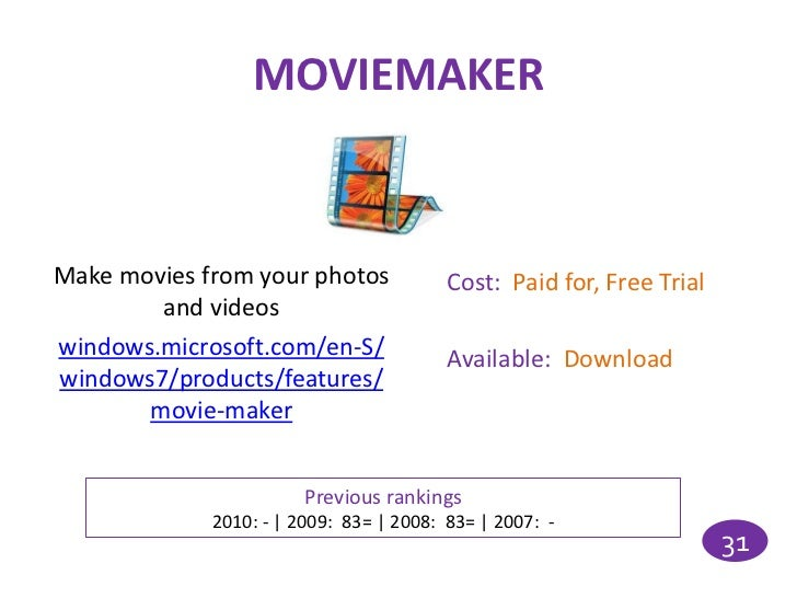 MOVIEMAKERMake movies from your photos             Cost: Paid for, Free Trial        and videoswindows.microsoft.com/en-S/...