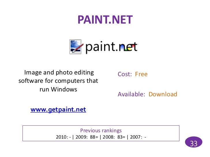 PAINT.NET  Image and photo editing               Cost: Freesoftware for computers that       run Windows                  ...