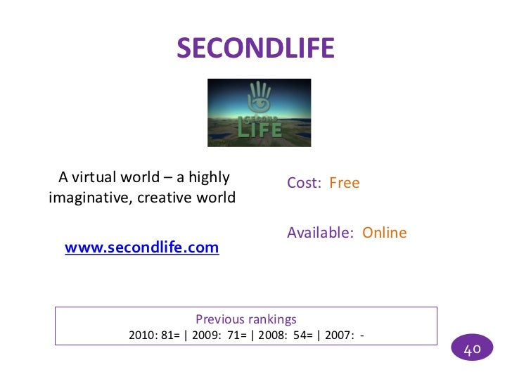 SECONDLIFE A virtual world – a highly            Cost: Freeimaginative, creative world                                    ...