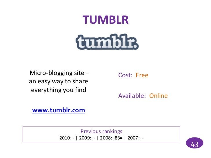 TUMBLRMicro-blogging site –                Cost: Freean easy way to share everything you find                             ...