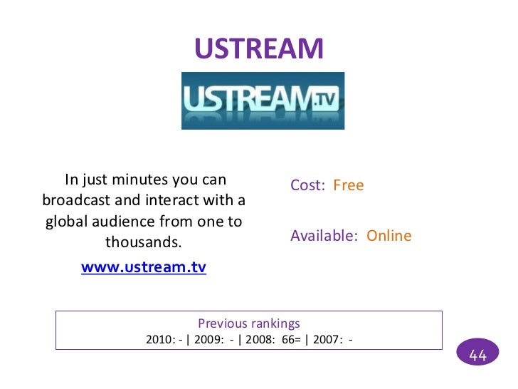 USTREAM   In just minutes you can               Cost: Freebroadcast and interact with aglobal audience from one to        ...