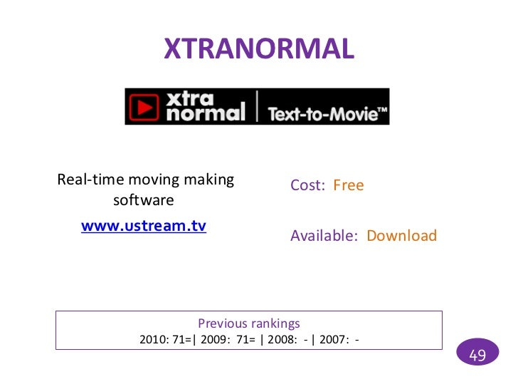 XTRANORMALReal-time moving making              Cost: Free        software   www.ustream.tv                                ...