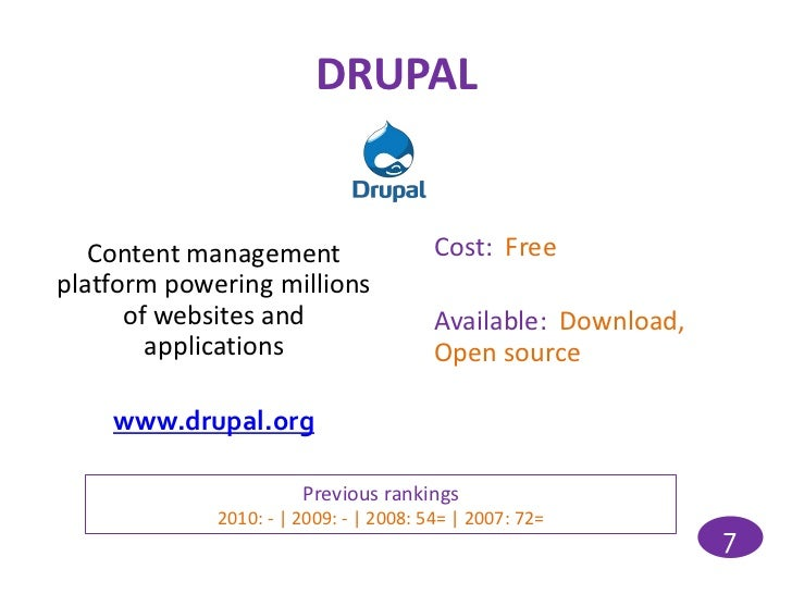 DRUPAL   Content management                   Cost: Freeplatform powering millions      of websites and                   ...