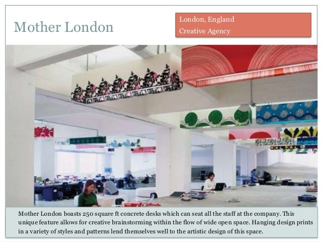 Mother London Mother London boasts 250 square ft concrete desks which can seat all the staff at the company. This unique f...
