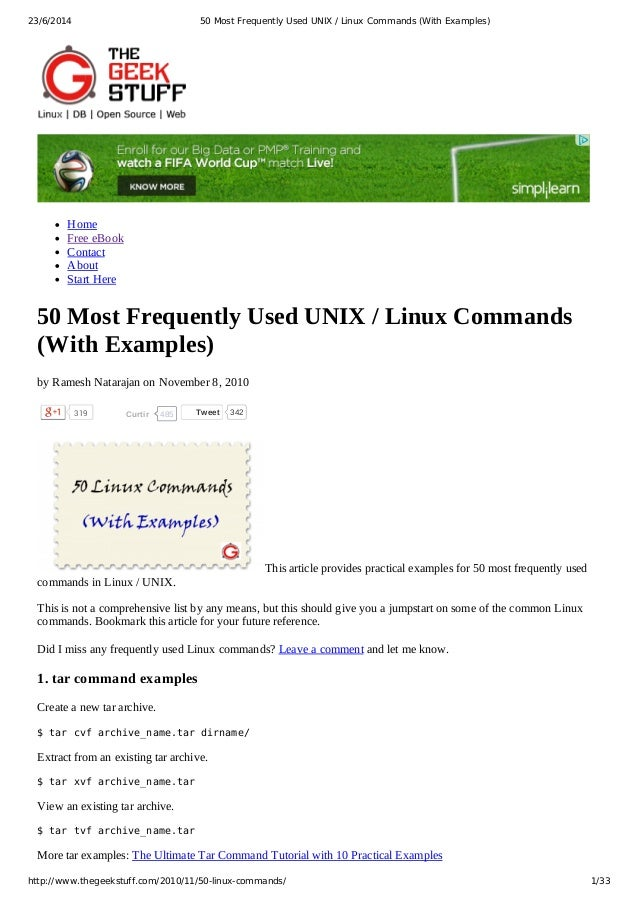 50 most frequently used unix linux commands with examples