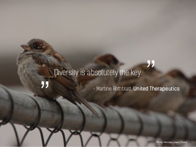 "Diversity is absolutely the key. Photo: Michael Leland [Flickr] """" - Martine Rothblatt, United Therapeutics"