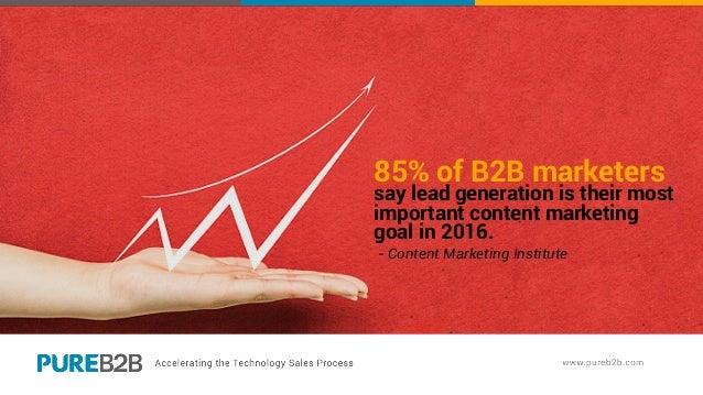 85% of B2B marketers say lead generation is their most important content marketing goal in 2016. - Content Marketing Insti...