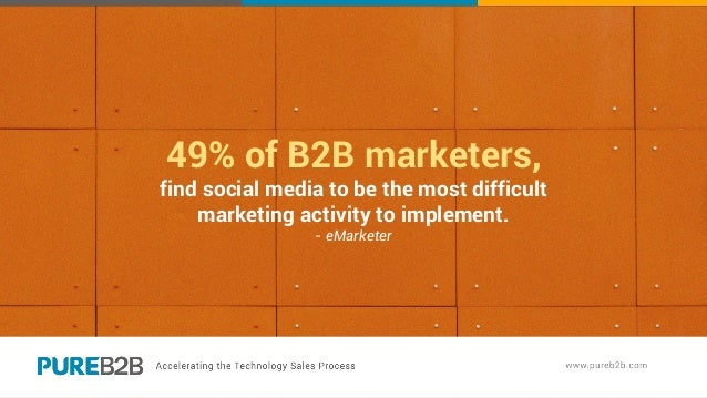 49% of B2B marketers, find social media to be the most difficult marketing activity to implement. - eMarketer