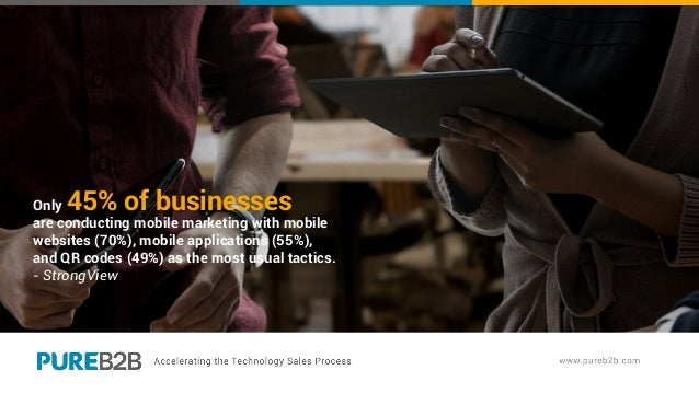Only 45% of businesses are conducting mobile marketing with mobile websites (70%), mobile applications (55%), and QR codes...