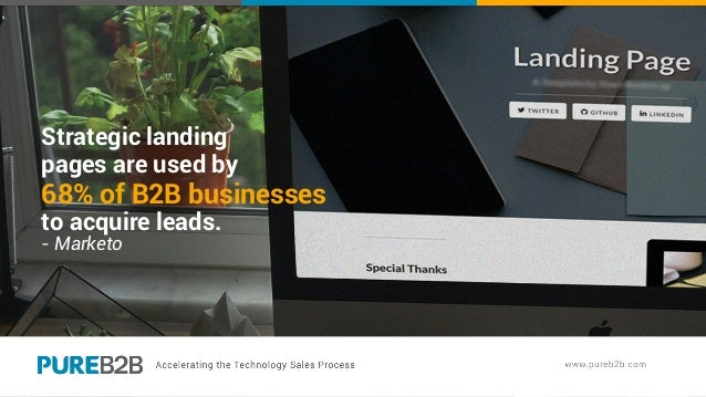 Strategic landing pages are used by 68% of B2B businesses to acquire leads. - Marketo