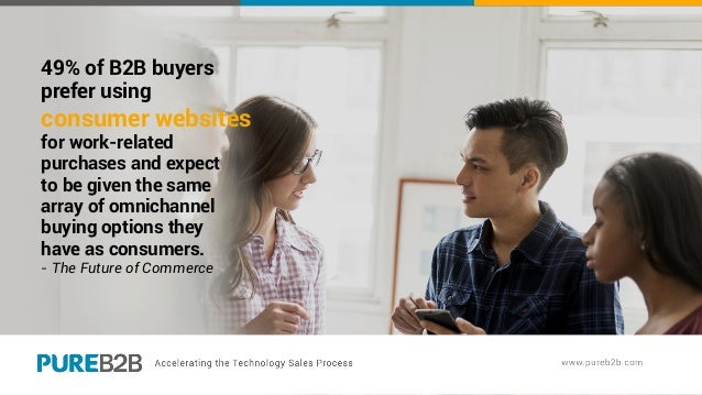 49% of B2B buyers prefer using consumer websites for work-related purchases and expect to be given the same array of omnic...