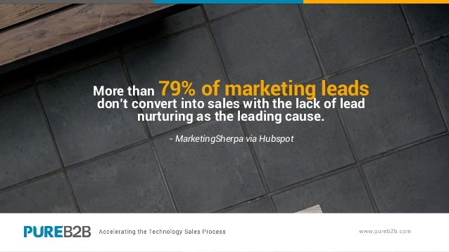 More than 79% of marketing leads don't convert into sales with the lack of lead nurturing as the leading cause. - Marketin...